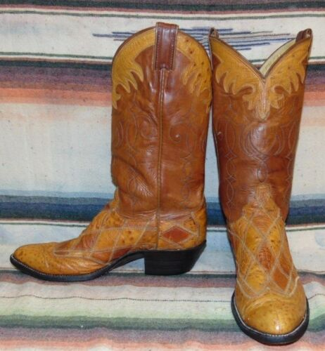 Mens, Vintage, Justin, Brown, Ostrich, /, Leather, Cowboy, Boots, 8, D, Very, Good, Condition