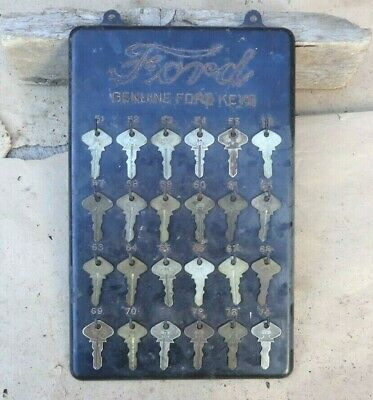 Vintage Model T Ford NUMBERED KEY DISPLAY Original 24 Genuine Ford Keys Script