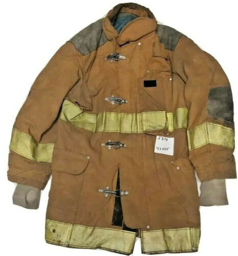 42x35 Janesville Lion Firefighter Brown Turnout Jacket Coat w/ Yellow Tape J874