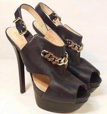 Fendi Spuntata Vit.Palmellato Black Leather peep Stiletto platform booties 39.5