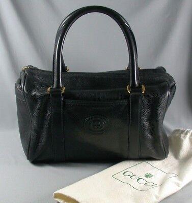 Vintage Gucci Handbag & Dust Cover - Textured Black Speedy Satchel Doctor Bag