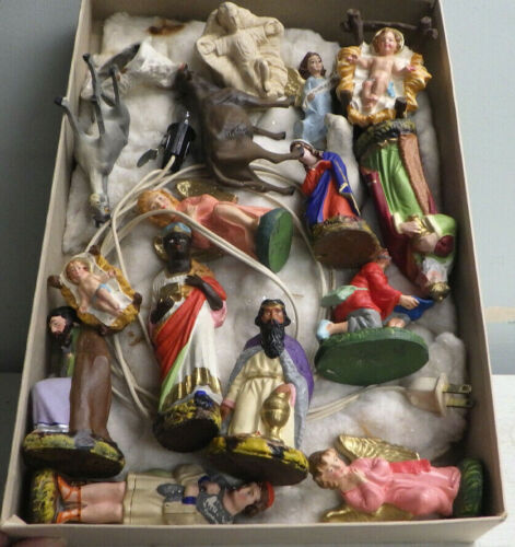 Vintage Creche Nativity Set Mixed Lot Mostly Hand Painted Paper Mache Italy