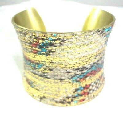 HTF! Retired RUSTIC CUFF Wide Colorful Teal White Python Concave Cuff Bracelet!