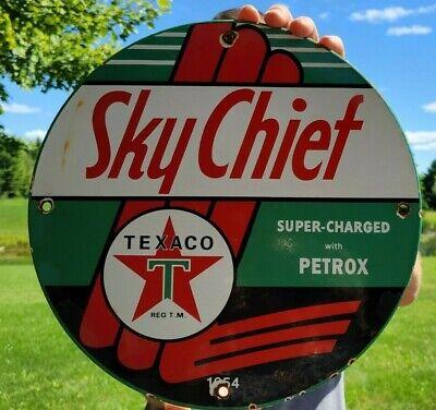 OLD VINTAGE DATED 1954 TEXACO SKY-CHIEF PORCELAIN ENAMEL GAS STATION PUMP SIGN