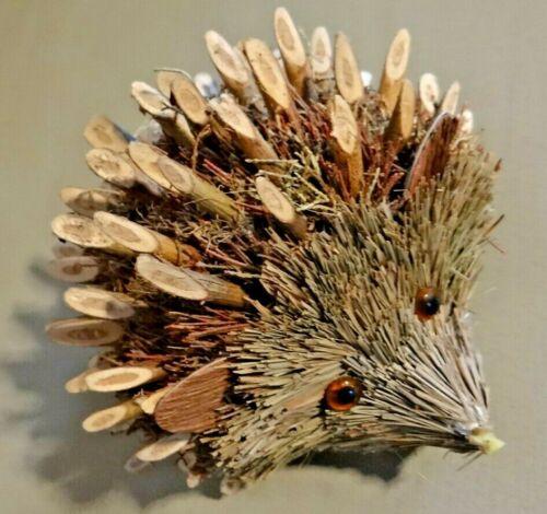 Country Rustic Bristle Brush Hedgehog Figurine Figural Birchwood Chalet