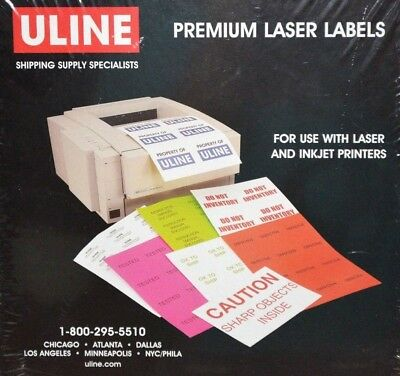 Uline Premium Laser Labels S-5627 1200 Labels 4 X 1.5 White New