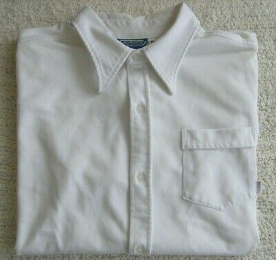 Men's Medium M BILLABONG Button Down Collared Short Sleeve Casual Shirt (White)