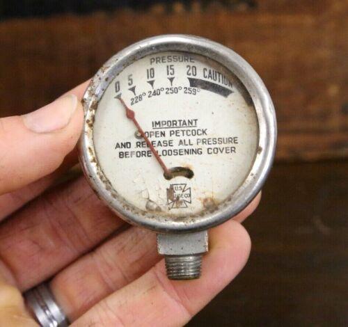 """Vintage U.S. Gauge Co. N.Y. 2"""" Steampunk Pressure Gauge industrial red needle"""