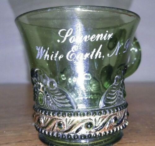 White Earth N.D. North Dakota Green Gold Souvenir Glass