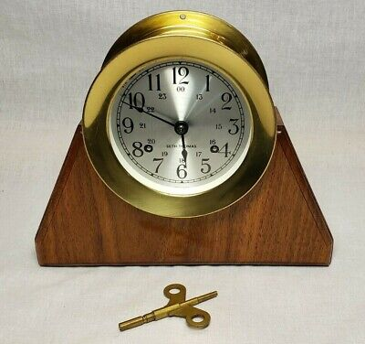 BEAUTIFUL VINTAGE MARITIME SETH THOMAS HEAVY BRASS SHIP BELL MANTLE CLOCK !!!
