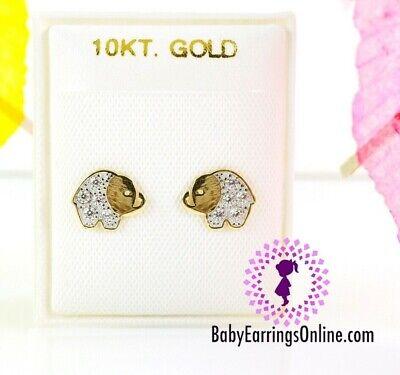 10k Gold Zirconia Baby Elephant Little Girl Screw back -