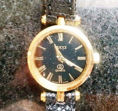 Fine jewelry Women Vintage Italian Gucci Gold Crystal Black Leather band Watch X