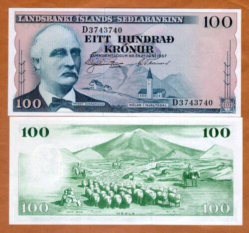 Iceland, 100 Kronur, L. 1957, P-40 (40a), UNC
