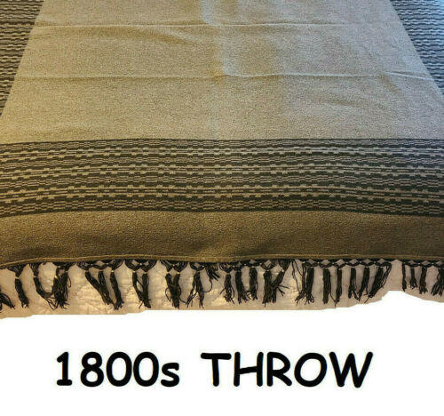 """Wool Throw Blanket Vintage Antique 1800s Reversible Brown 70"""" x 70"""" Fringed 👍👍"""