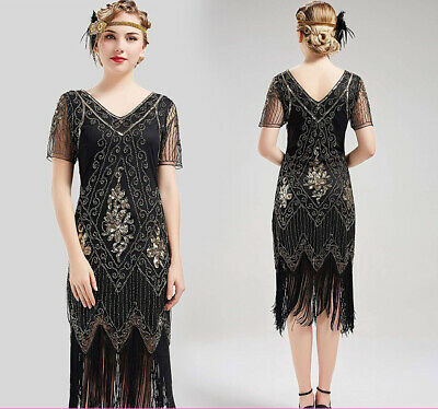 1920s Fancy Dress Vintage Sequin Great Gatsby Flapper Dress Costume Plus Size 18