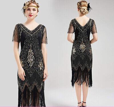 1920s Clothes For Women (1920s Dress Women's Flapper Short Sleeve Dress Gatsby Party Women's Fancy)