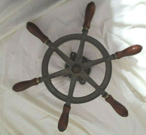 Rare Old Perko Ships 16 Steering Wheel Wood Iron Nautical Maritime Boat Antique
