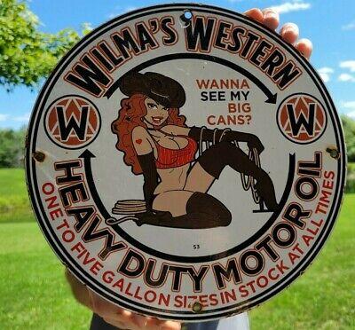 VINTAGE DATED '53 WILMA'S WESTERN GASOLINE CAN PORCELAIN ENAMEL GAS STATION SIGN