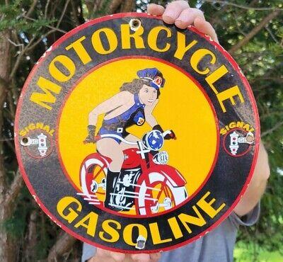 OLD VINTAGE DATED 1948 SIGNAL MOTORCYCLE GASOLINE PORCELAIN GAS STATION SIGN