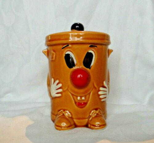 Vintage Ceramic Clown Trash Can Coin Bank