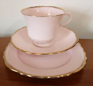 Vintage ROYAL VALE PINK  CHINA Cup Saucer &  Plate BEAUTIFUL TRIO TEA SET