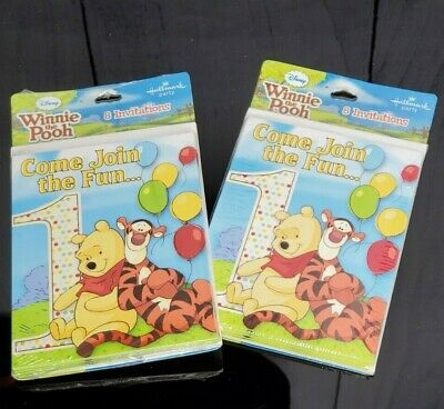Winnie The Pooh & Tigger 1st Birthday Party Invitations 16 Count Party -