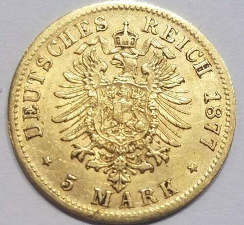 1877 E Saxony 5 Mark Gold Coin German States Germany EXTRA FINE EF KM 1239
