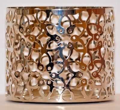 Bath & Body Works Silver Floral Design 3 Wick Candle Sleeve Holder -