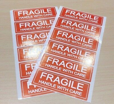 12 PACK - 25 x 75mm FRAGILE HANDLE WITH CARE Postage Postal Labels