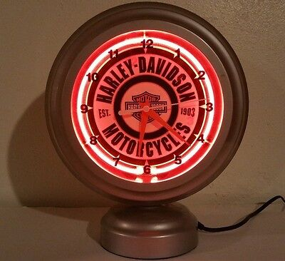 Harley-Davidson Motorcycle Oil Tabletop Neon Clock Double Sided Backlit Neon