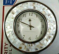 Mother Of Pearl Quartz Wall Hanging Clock 10.75 Inch Round Shell Battery Mosaic