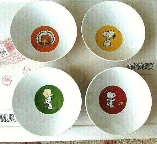 Snoopy Peanuts Pottery Barn Bowls Thanksgiving Melamine Set 4 New