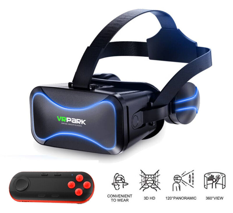 3D Glasses VR Headset Virtual Reality Goggles Box With Remote For iPhone Android