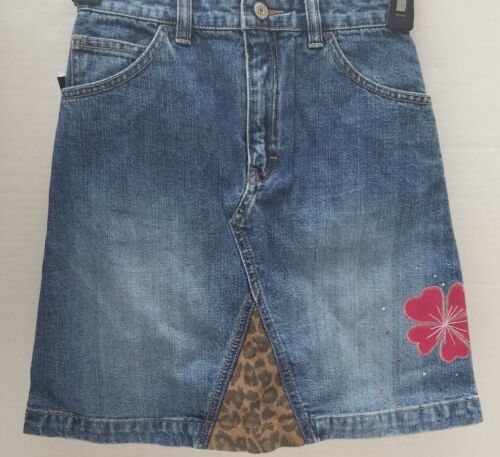NWT Gap Kids Girls Skirt Blue Denim Jeans Flower Leopard Stitch Pockets 10 NEW