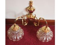 pair - double highly decorative, quality made, gold coloured WALL LIGHTS with shades, vgc