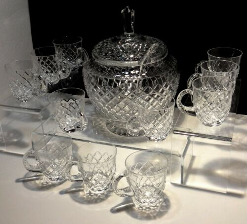 VINTAGE BACCARAT LIDDED PUNCH BOWL SET w/LADLE ~ 11 PUNCH CUP ~ SIGNED BACCARAT