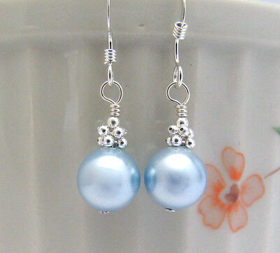 Pearl Earrings ~ BLUE DROP AUSTRIAN CRYSTAL STERLING SILVER 925 WEDDING BRIDAL -