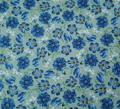 Botanical Treasures - Harper BTY New York Botanical Garden Quilting Treasures Floral Blue on Green