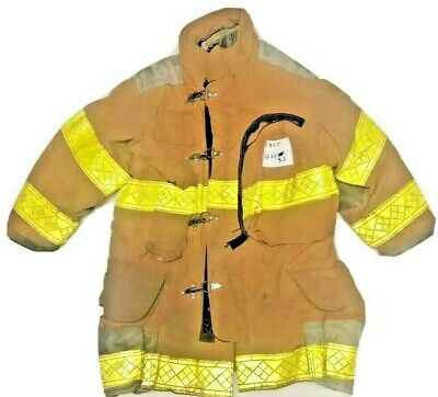 42x32 Janesville Lion Firefighter Brown Turnout Jacket Coat W Yellow Tape J855