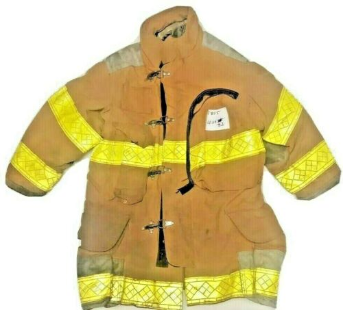 42x32 Janesville Lion Firefighter Brown Turnout Jacket Coat w/ Yellow Tape J855