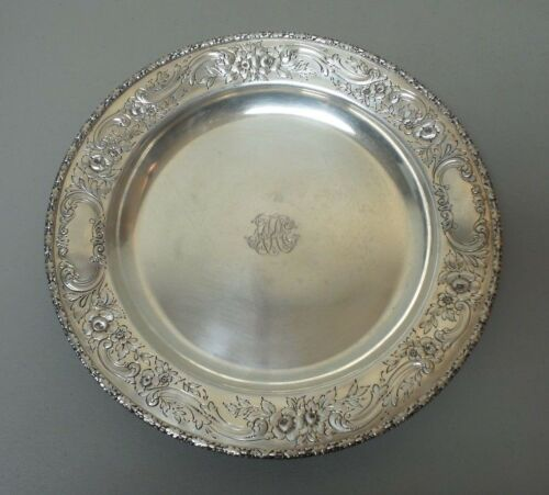 "VINTAGE REED & BARTON STERLING SILVER CHASED 14"" TRAY, MONOGRAM, 32.16 oz. T."