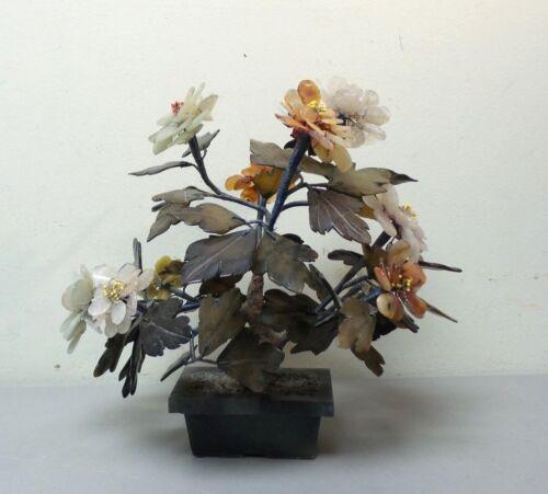 VINTAGE CHINESE JADE FLOWER TREE, MULTI-PETAL JADE FLOWERS in JADE POT