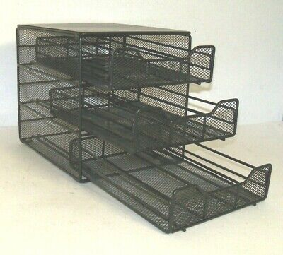 Mesh Desk Organizer Sorter 3 Drawers With 3 Compartments Each Drawer Black Euc