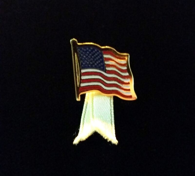 "Very Nice 1"" USA Flag Pin with Yellow Ribbon"
