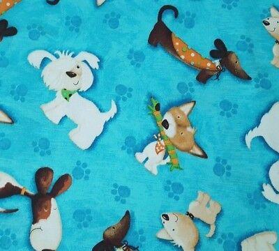 Puppy Love BTY Victoria Hutto Quilting Treasure Dog Dachshound Terrier Blue
