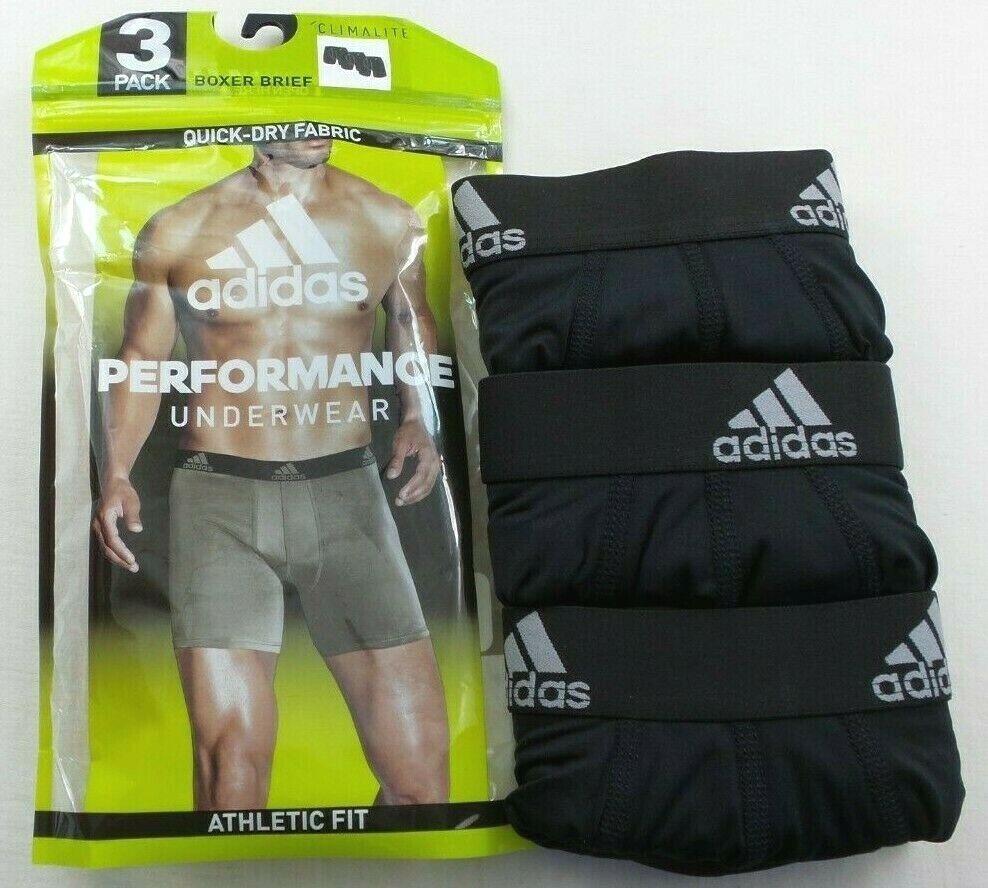 Adidas Mens Boxer Briefs 3 Pack M L Black Athletic Fit Perfo