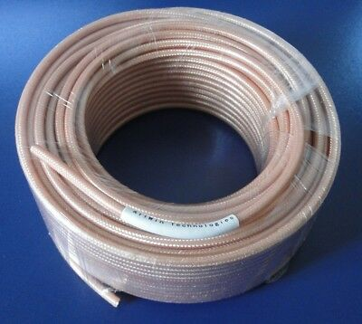 (RG142D, 100ft, Double Shielded, 50ohm Coaxial Cable with Tan FEP Jacket)