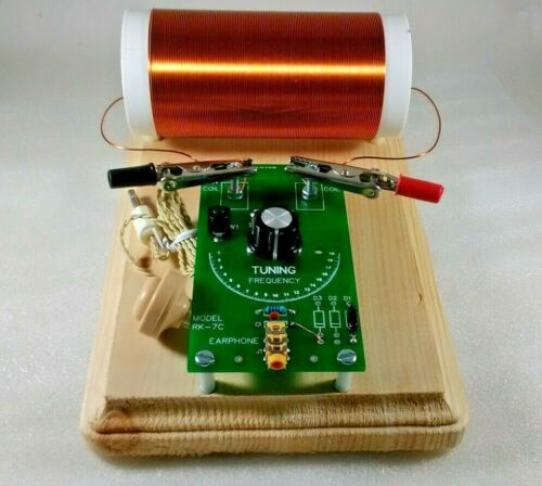 Assembled Crystal Radio and Premium 350uh Coil with Piezo Earphone-PCB