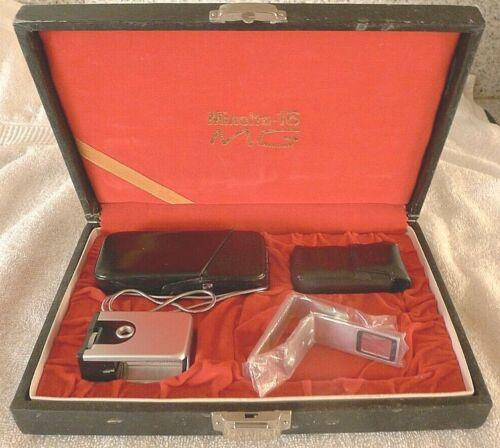 Minolta 16 MG Camera +MG Flash +Filters & Camera Chain All in Red Velvet Case