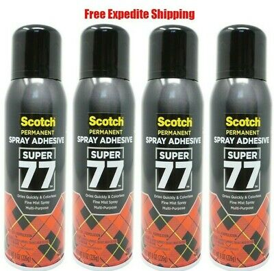 Scotch 3m Super 77 Multi Purpose Permanent Spray Adhesive Glue 8 Oz. 4 Pack